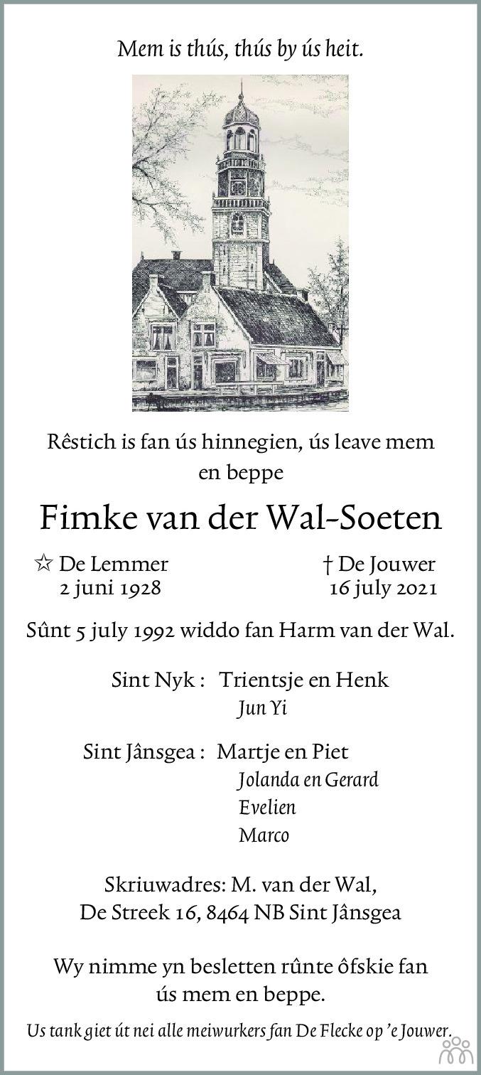 Overlijdensbericht van Fimke van der Wal-Soeten in Leeuwarder Courant