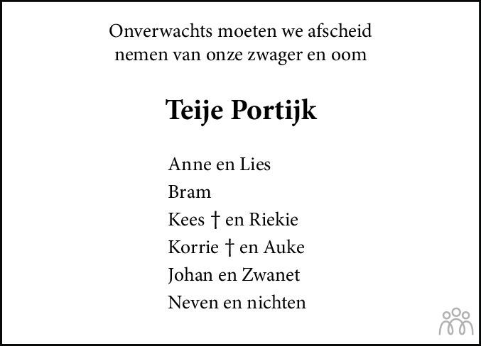 Overlijdensbericht van Teye (Teije) Portijk in Leeuwarder Courant
