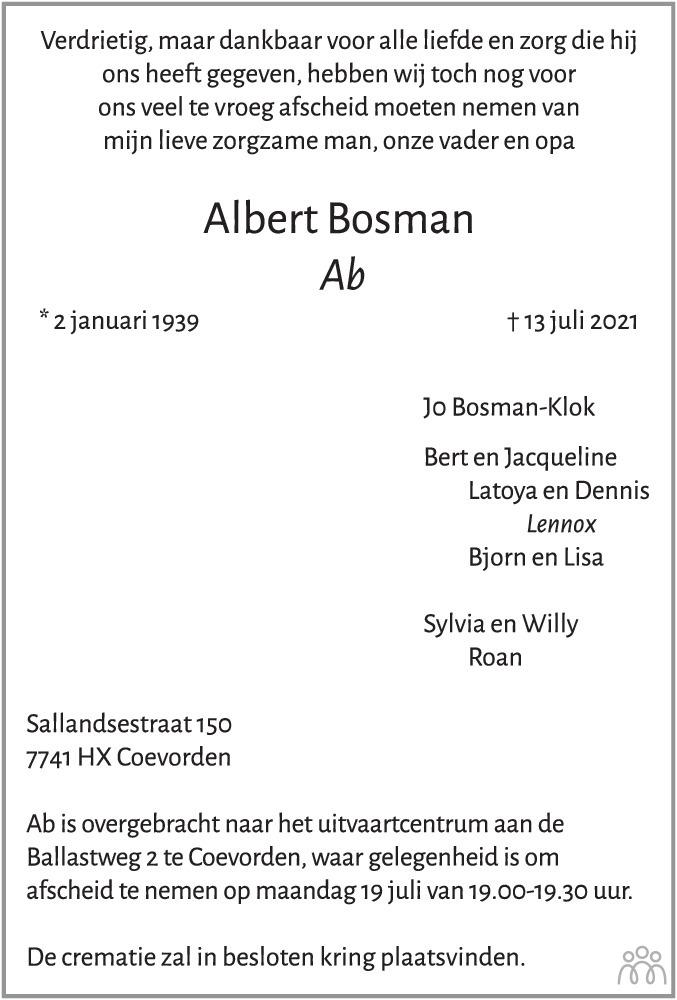 Overlijdensbericht van Albert (Ab) Bosman in Dagblad van het Noorden
