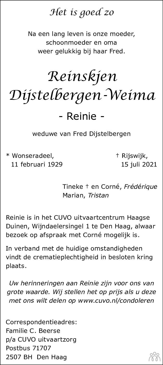 Overlijdensbericht van Reinie (Reinskjen) Dijstelbergen-Weima in Leeuwarder Courant