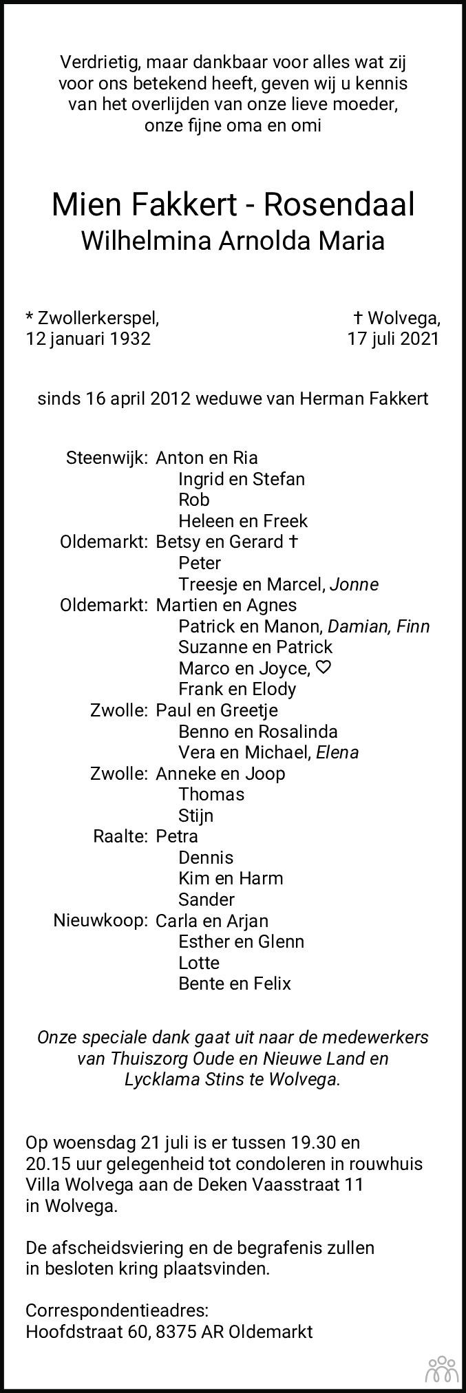 Overlijdensbericht van Mien (Wilhelmina Arnolda Maria) Fakkert-Rosendaal in Meppeler Courant