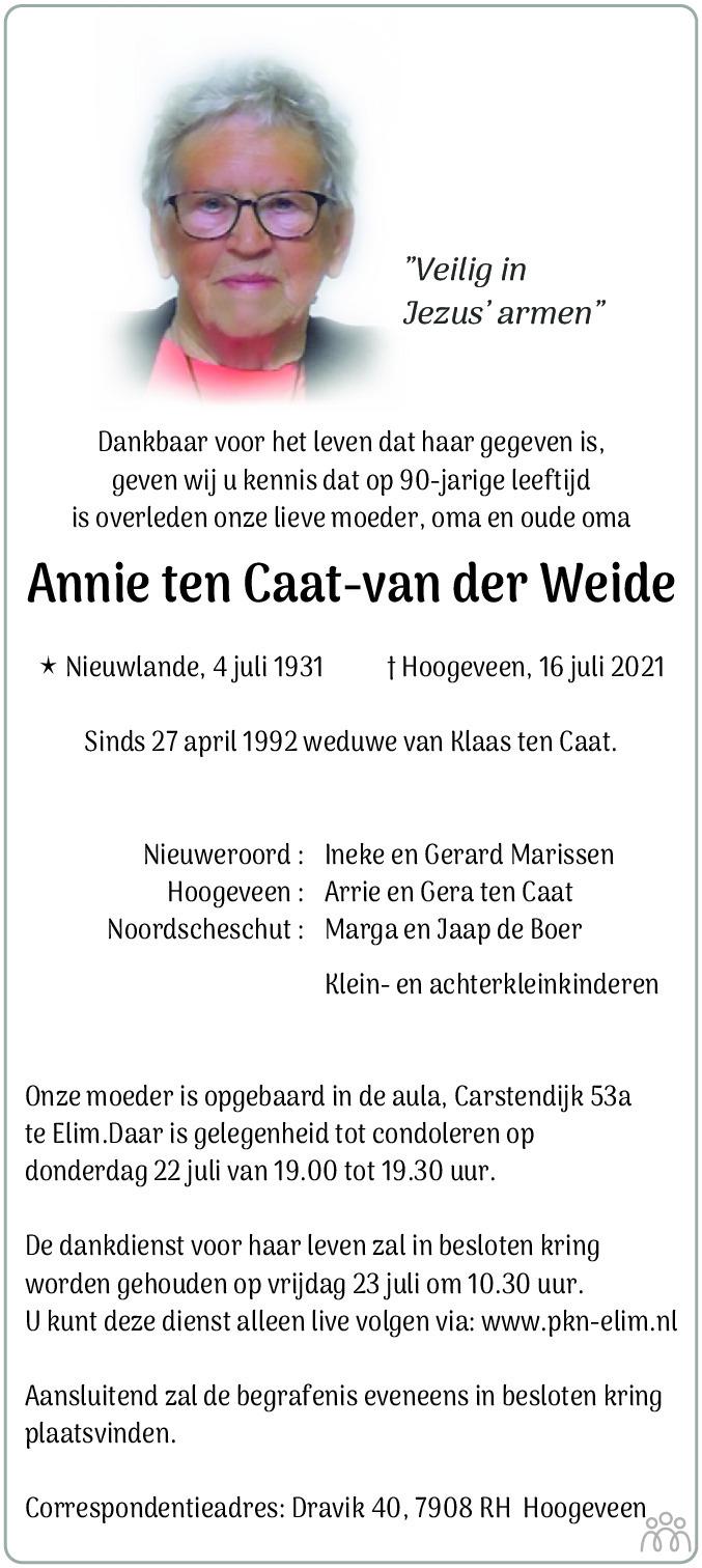 Overlijdensbericht van Annie ten Caat-van der Weide in Hoogeveensche Courant