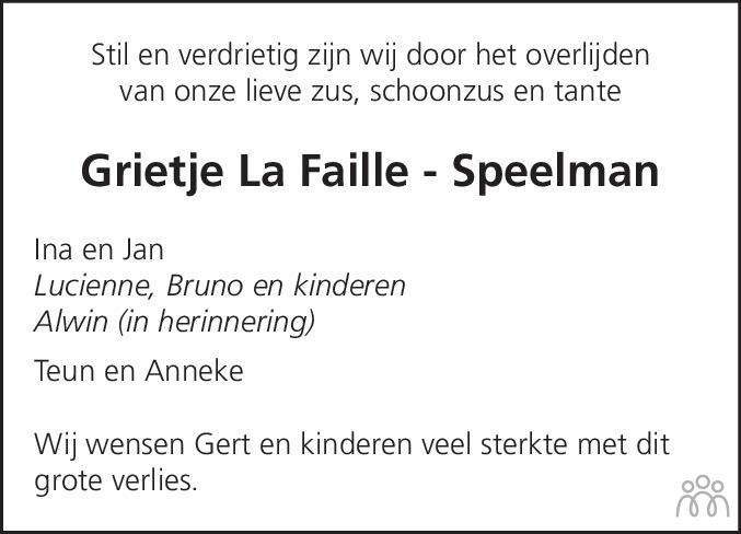 Overlijdensbericht van Grietje la Faille-Speelman in Steenwijker Courant