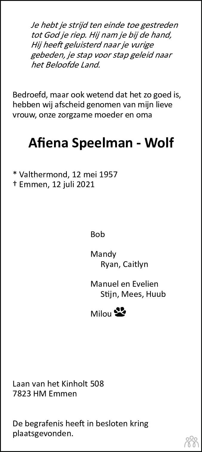 Overlijdensbericht van Afiena Speelman-Wolf in Emmen Nu