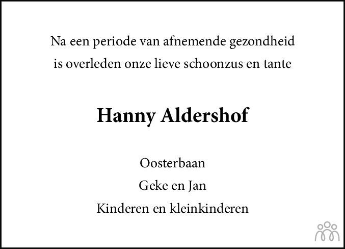 Overlijdensbericht van Hanny Aldershof-Oosterbaan in Nieuwe Ooststellingwerver