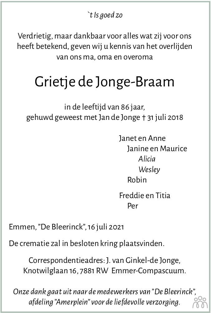 Overlijdensbericht van Grietje de Jonge-Braam in Emmen Nu
