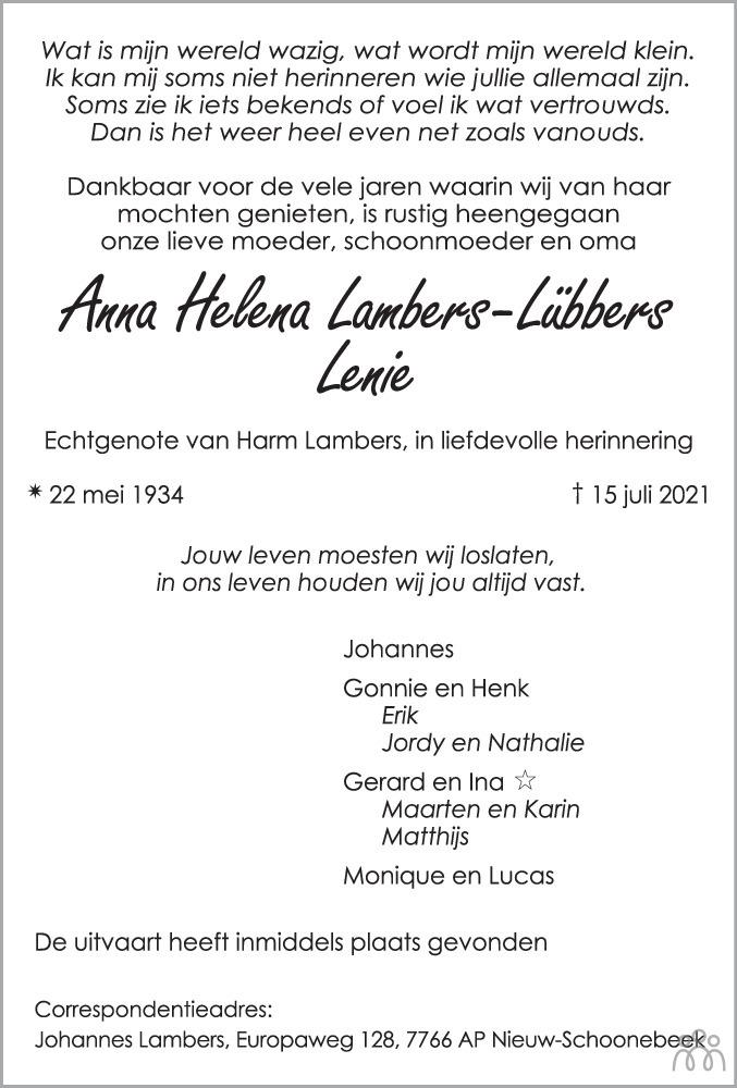 Overlijdensbericht van Anna Helena (Lenie) Lambers-Lübbers in Emmen Nu