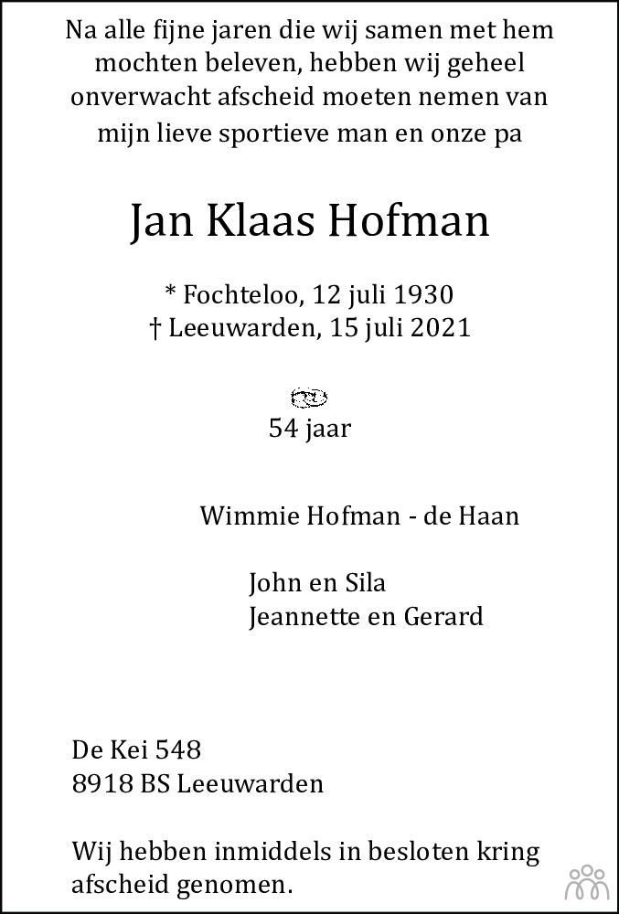 Overlijdensbericht van Jan Klaas Hofman in Leeuwarder Courant