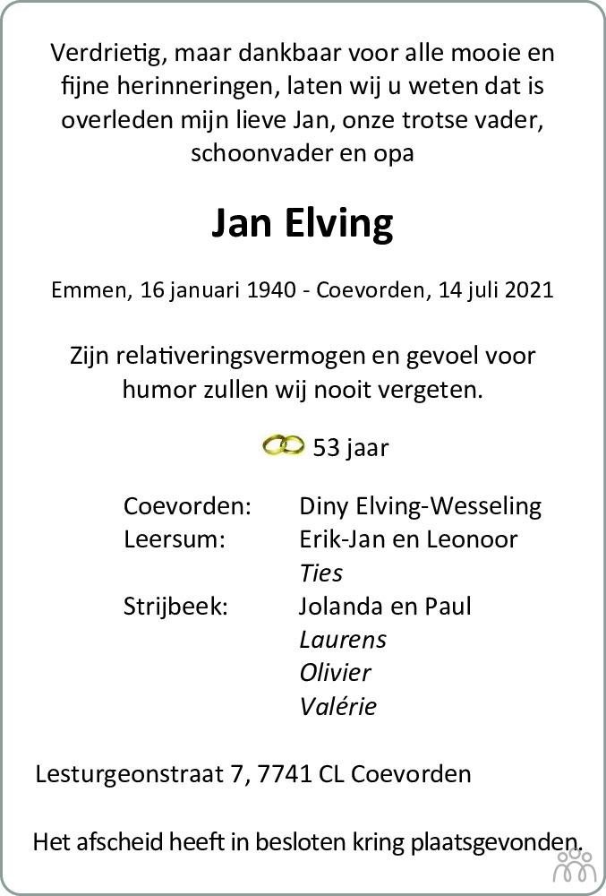 Overlijdensbericht van Jan Elving in Coevorden Huis aan Huis