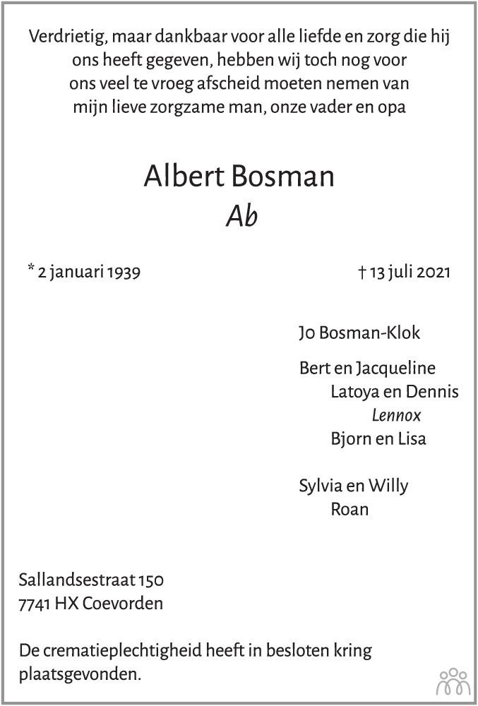 Overlijdensbericht van Albert (Ab) Bosman in Coevorden Huis aan Huis