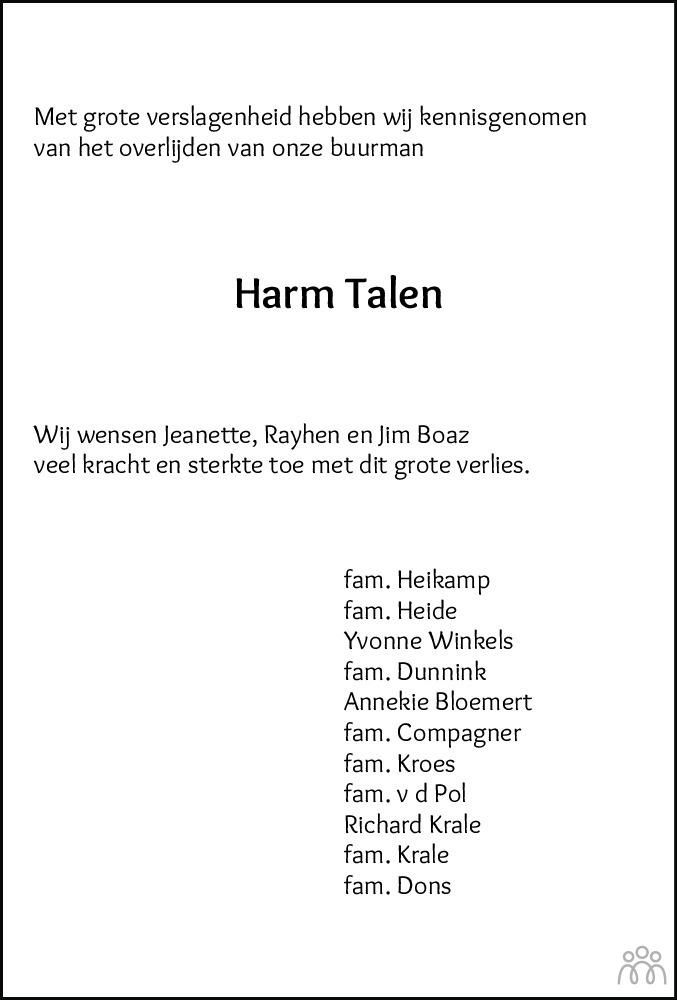 Overlijdensbericht van Harm Talen in De Staphorster