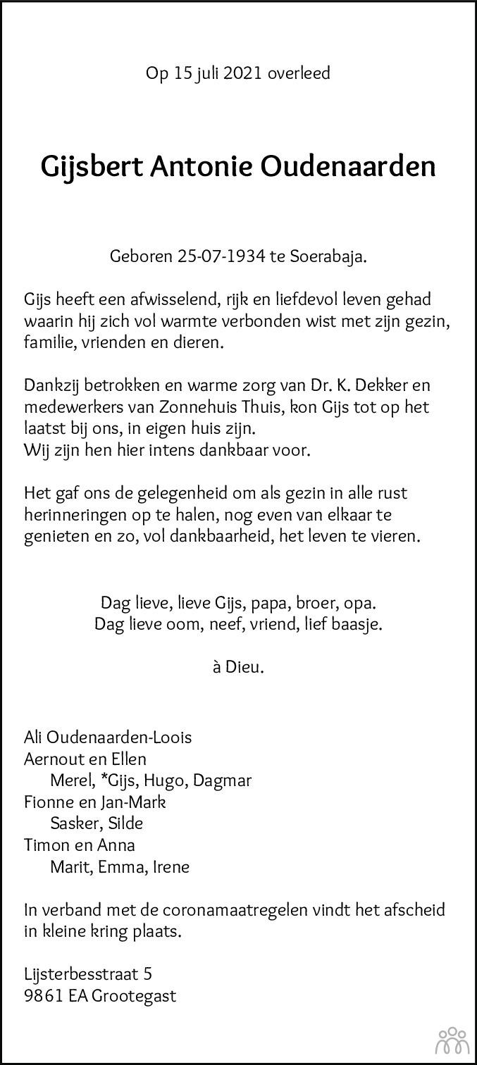Overlijdensbericht van Gijsbert Antonie Oudenaarden in Dagblad van het Noorden