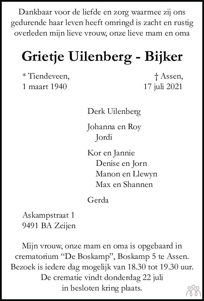Overlijdensbericht van Grietje Uilenberg-Bijker in Dagblad van het Noorden