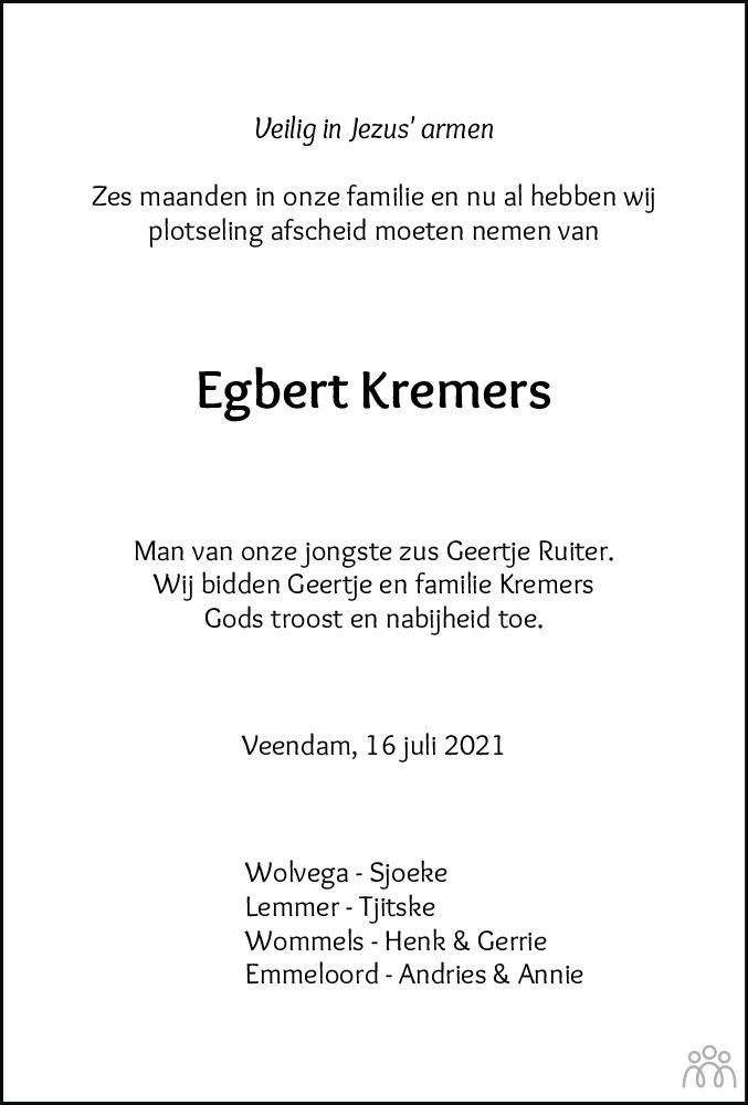 Overlijdensbericht van Egbert Kremers in De Stellingwerf