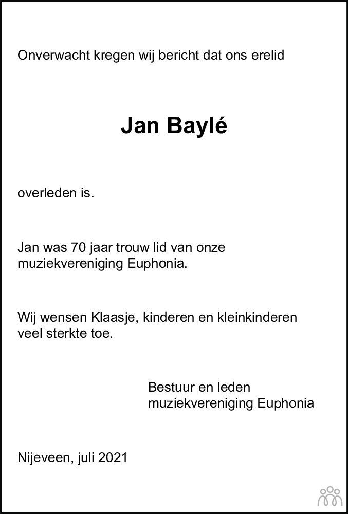 Overlijdensbericht van Jan Baylé in Meppeler Courant