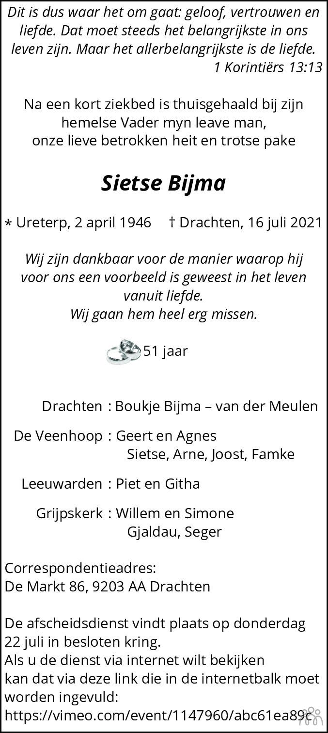 Overlijdensbericht van Sietse Bijma in Leeuwarder Courant