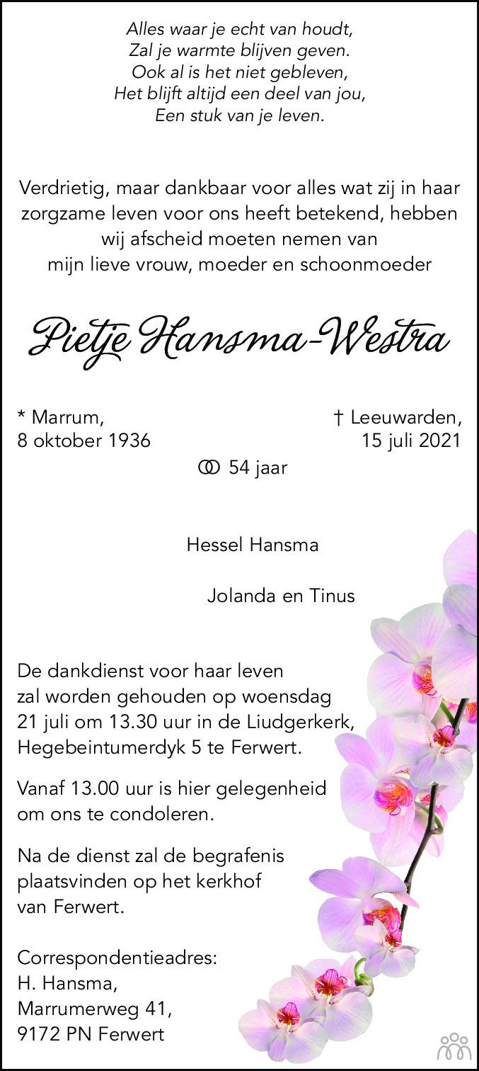 Overlijdensbericht van Pietje Hansma-Westra in Leeuwarder Courant