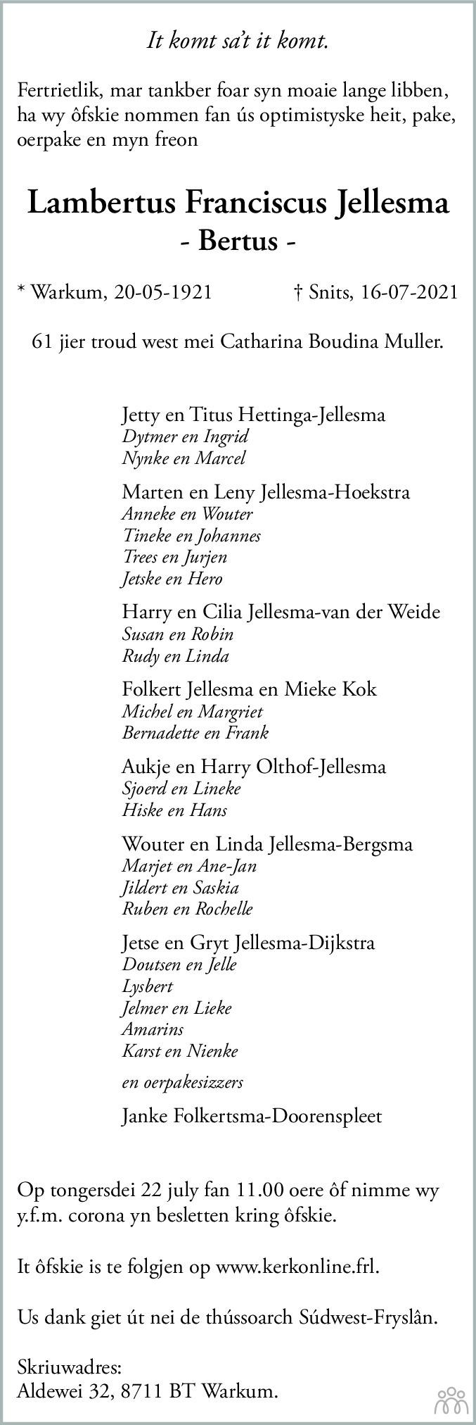 Overlijdensbericht van Lambertus Franciscus (Bertus) Jellesma in Leeuwarder Courant