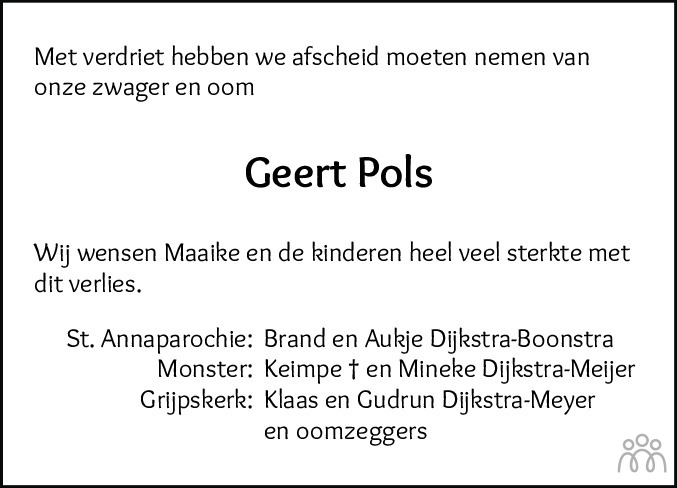 Overlijdensbericht van Geert Pols in Leeuwarder Courant