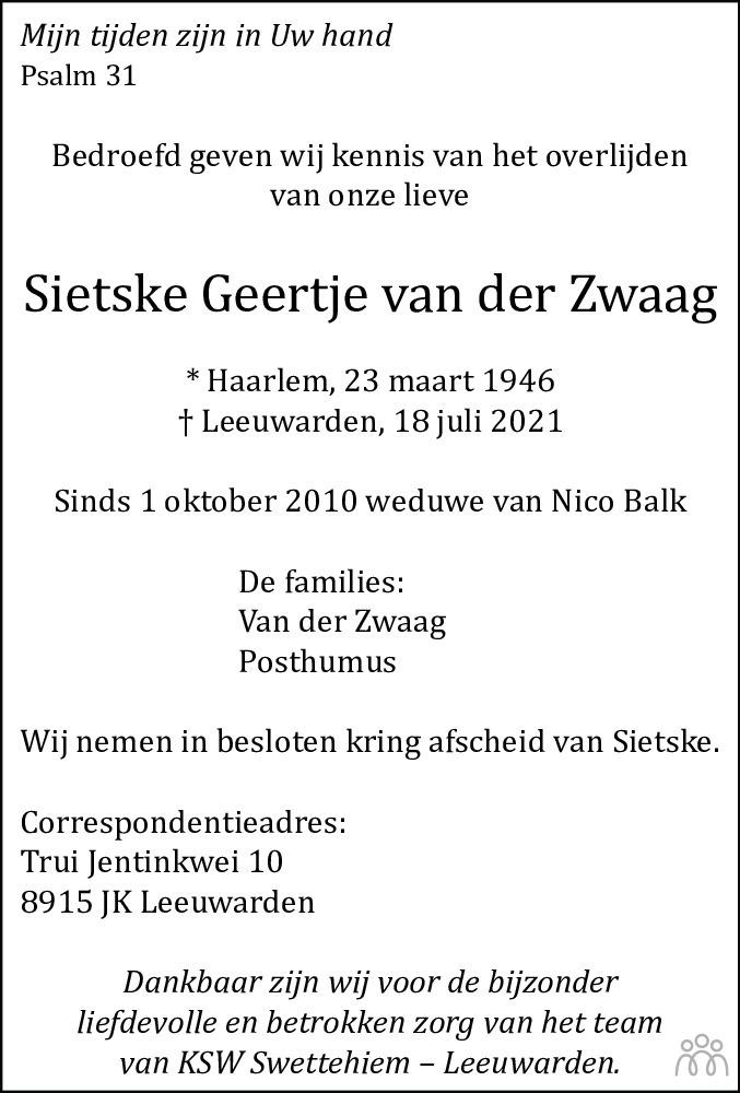 Overlijdensbericht van Sietske Geertje van der Zwaag in Friesch Dagblad