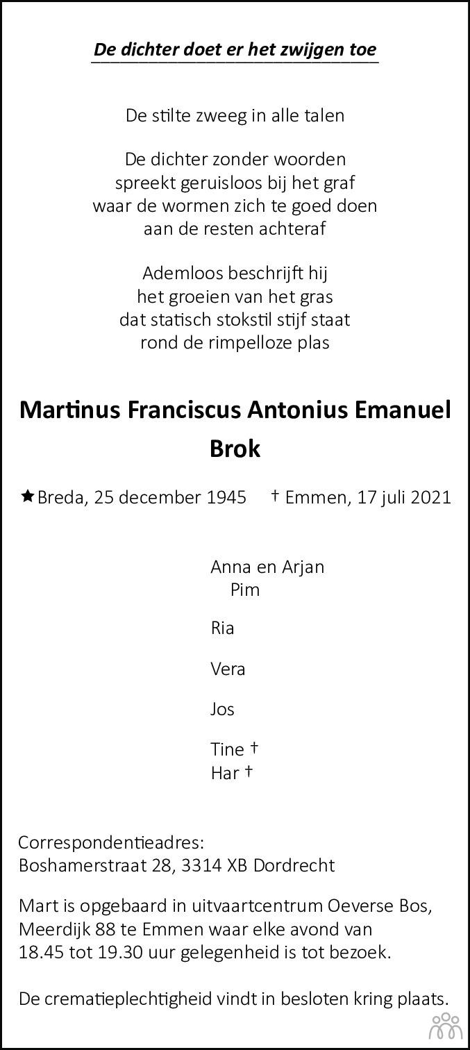 Overlijdensbericht van Martinus Brok in Emmen Nu