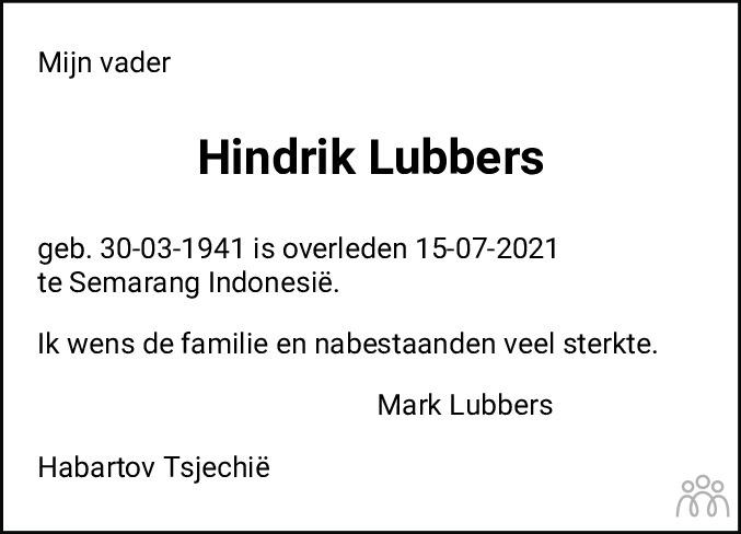 Overlijdensbericht van Hindrik Lubbers in Westerkwartier