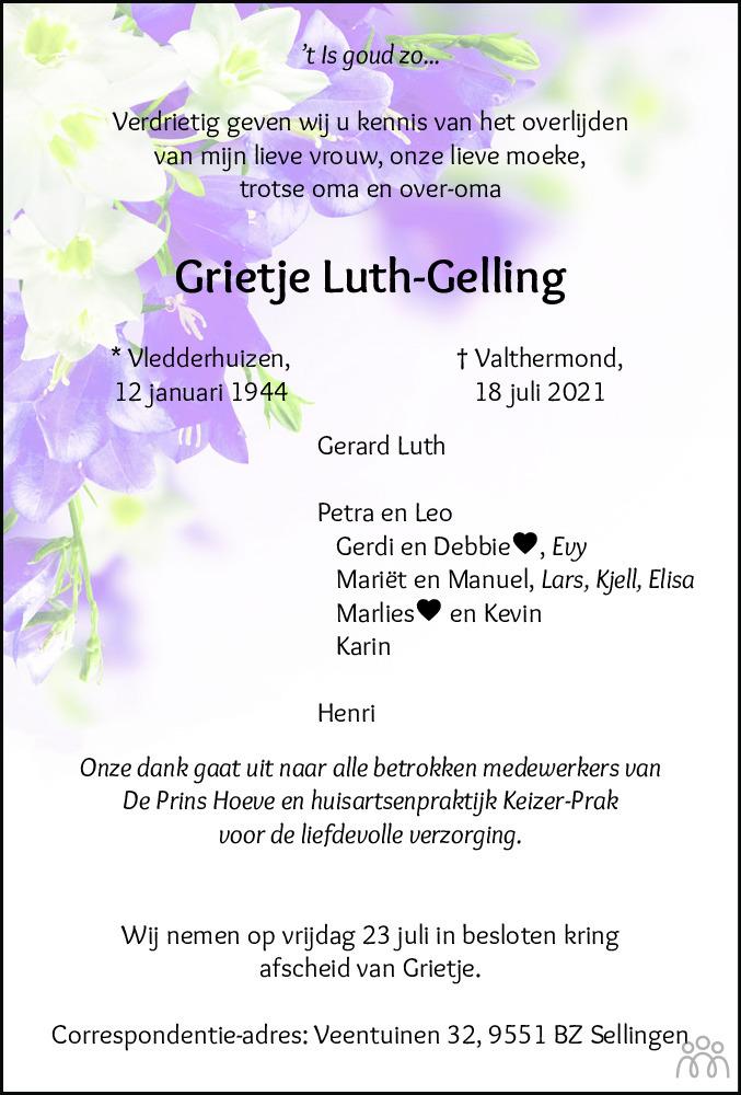 Overlijdensbericht van Grietje Luth-Gelling in Dagblad van het Noorden