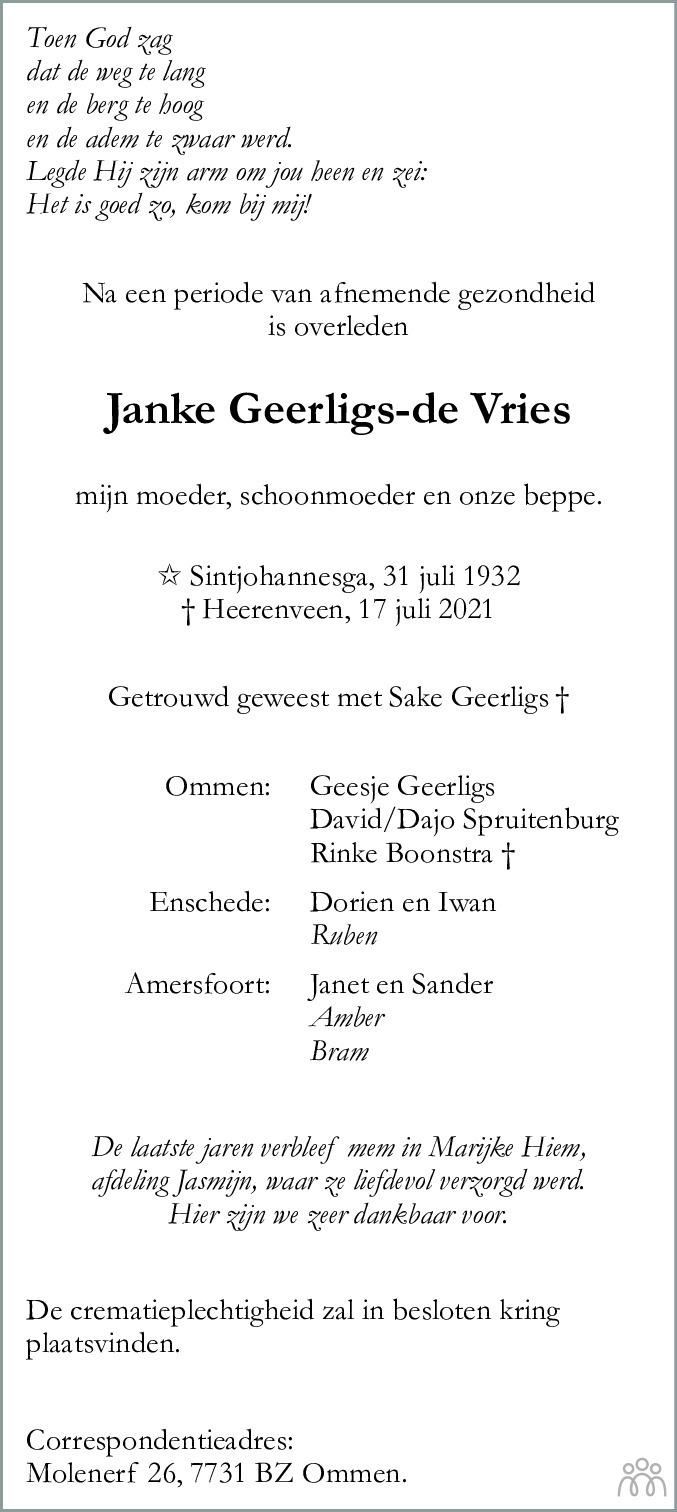 Overlijdensbericht van Janke Geerligs-de Vries in Leeuwarder Courant