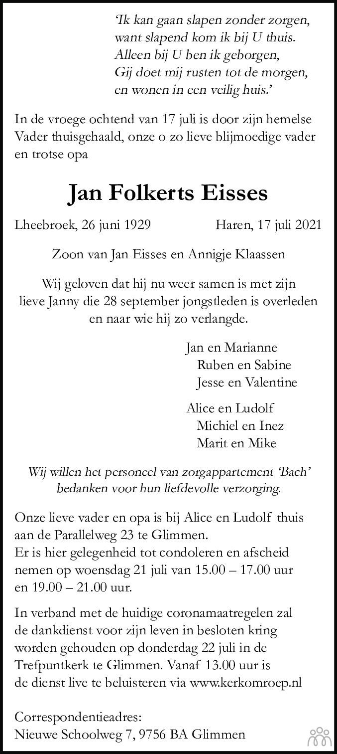 Overlijdensbericht van Jan Folkerts Eisses in Dagblad van het Noorden