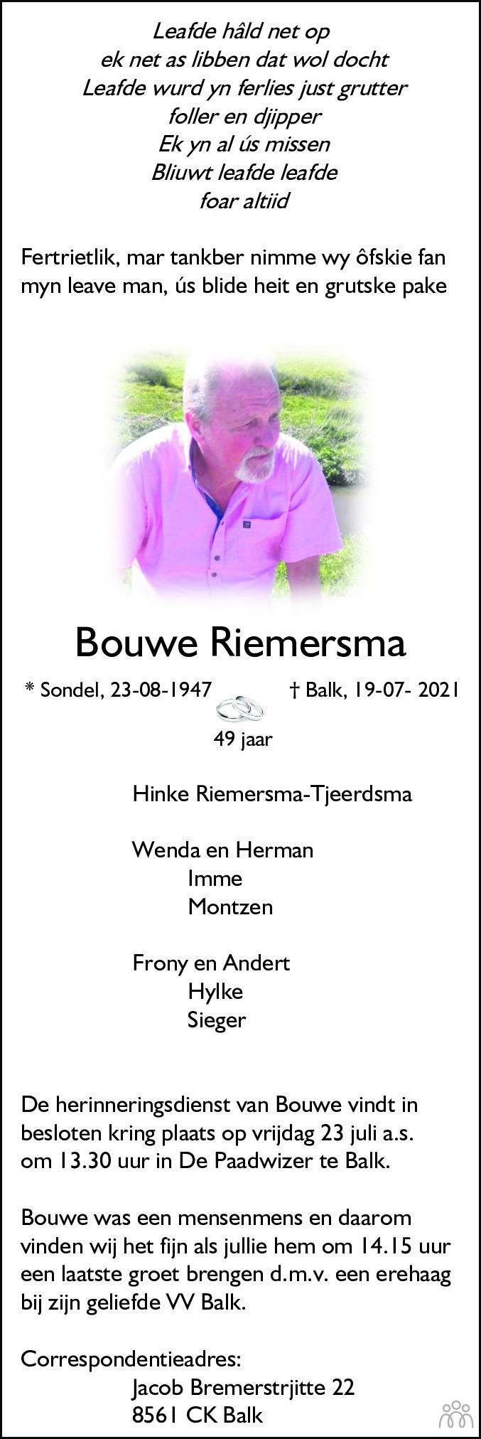 Overlijdensbericht van Bouwe Riemersma in Leeuwarder Courant
