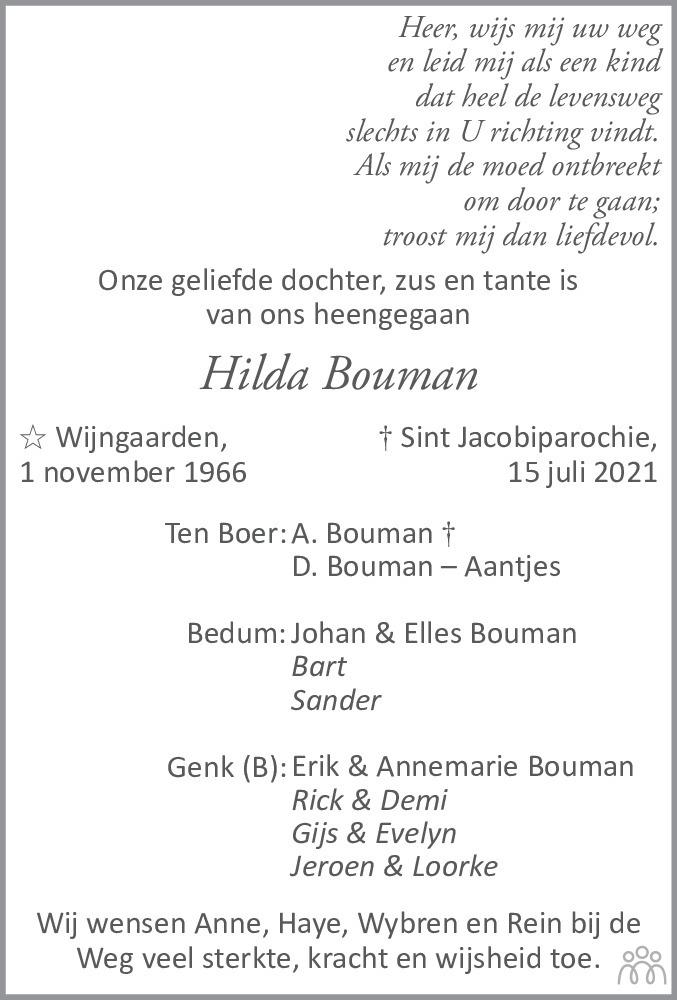 Overlijdensbericht van Hilligje Cornelia (Hilda) Bouman in Leeuwarder Courant