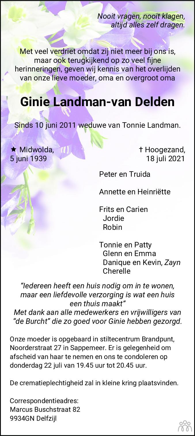 Overlijdensbericht van Ginie Landman-van Delden in Dagblad van het Noorden