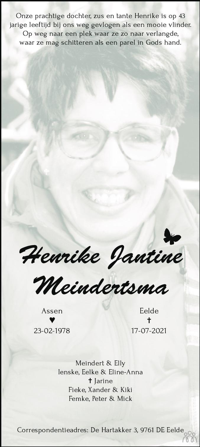 Overlijdensbericht van Henrike Jantine Meindertsma in Dagblad van het Noorden
