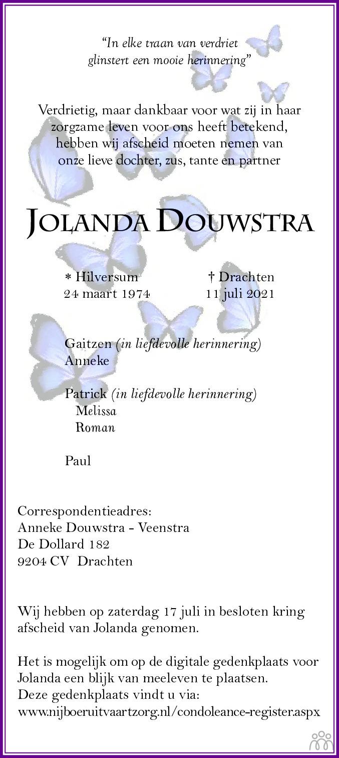 Overlijdensbericht van Jolanda Douwstra in Drachtster Courant