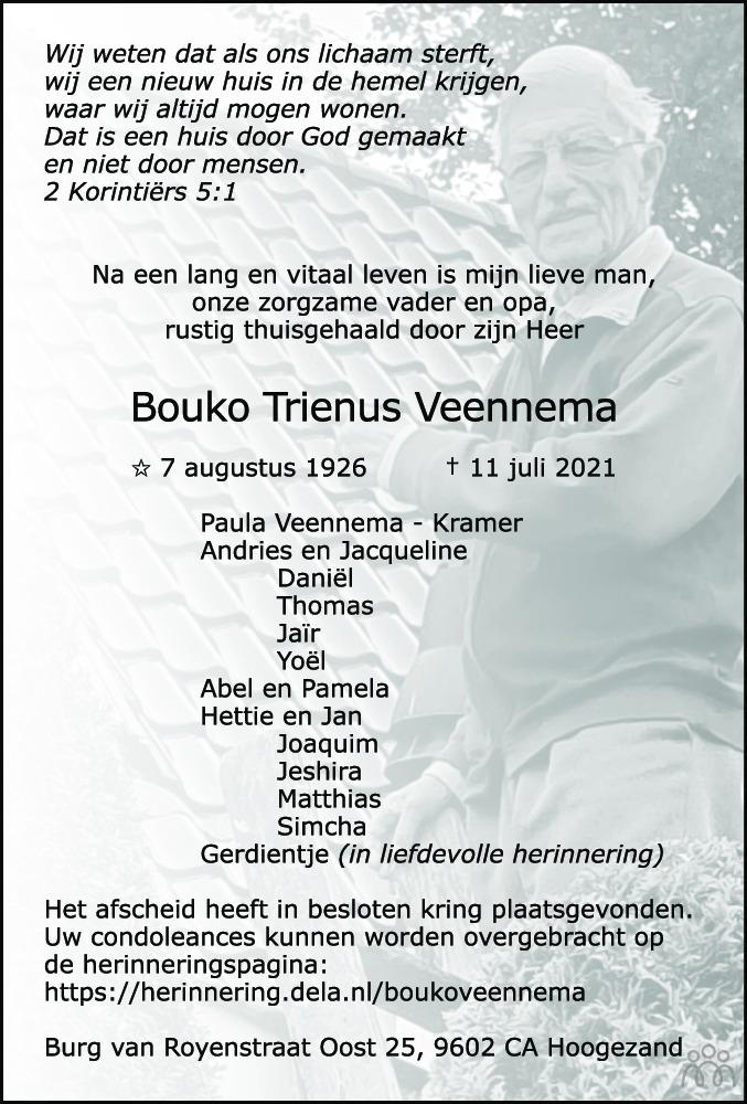 Overlijdensbericht van Bouko Trienus Veennema in HS-krant