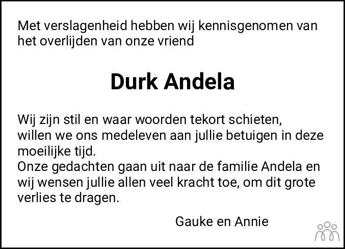 Overlijdensbericht van Durk Andela in Noordoostpolder