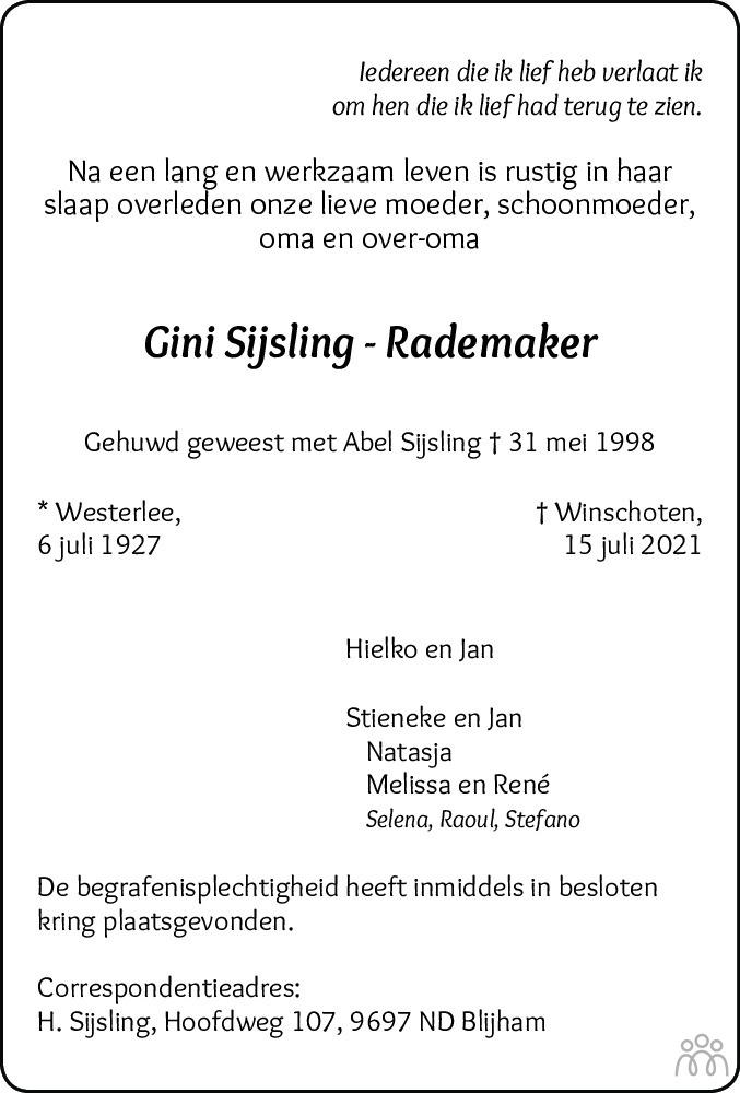 Overlijdensbericht van Gini Sijsling-Rademaker in Streekblad/Pekelder Streekblad