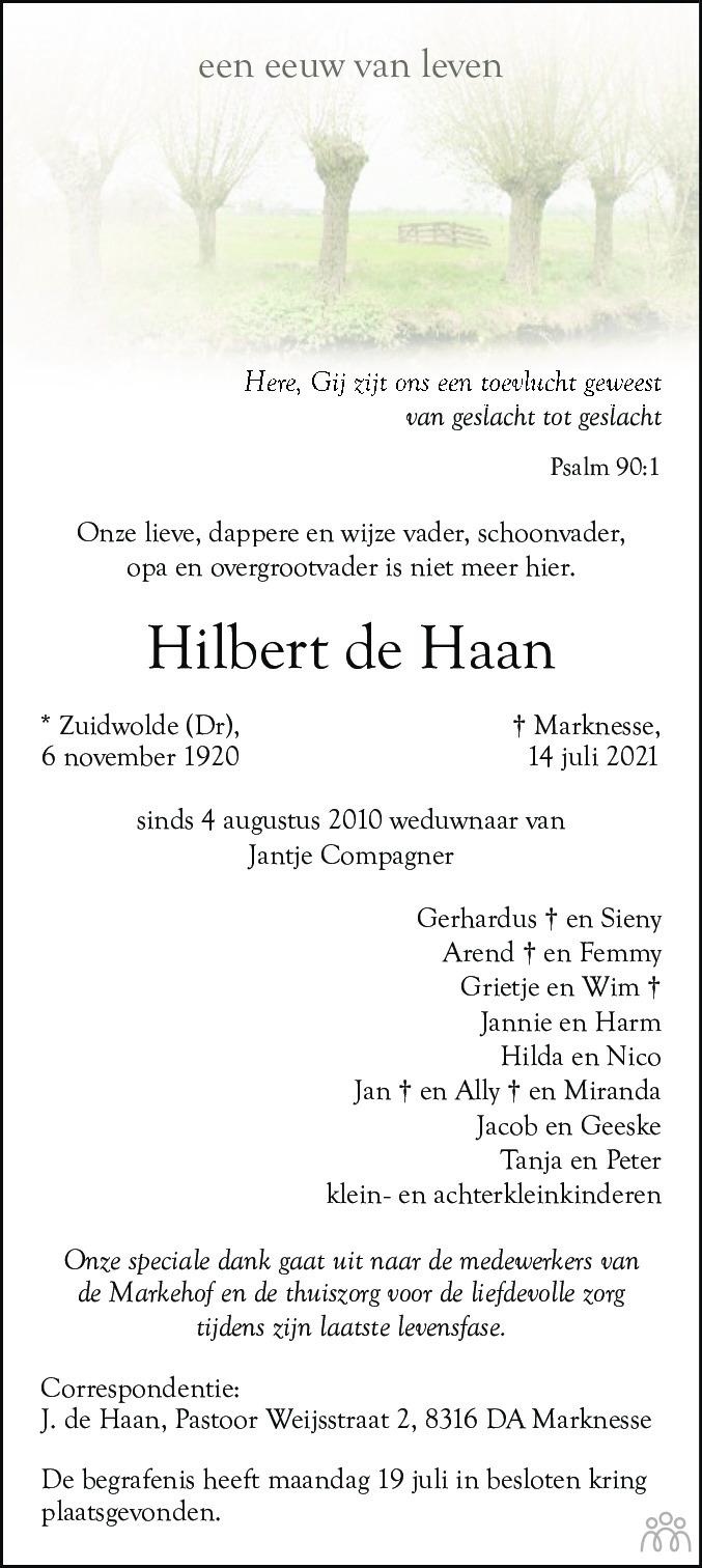 Overlijdensbericht van Hilbert de Haan in Noordoostpolder