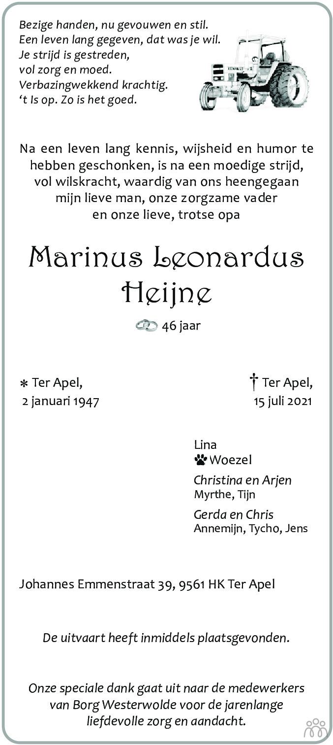 Overlijdensbericht van Marinus Leonardus Heijne in Kanaalstreek Ter Apeler Courant