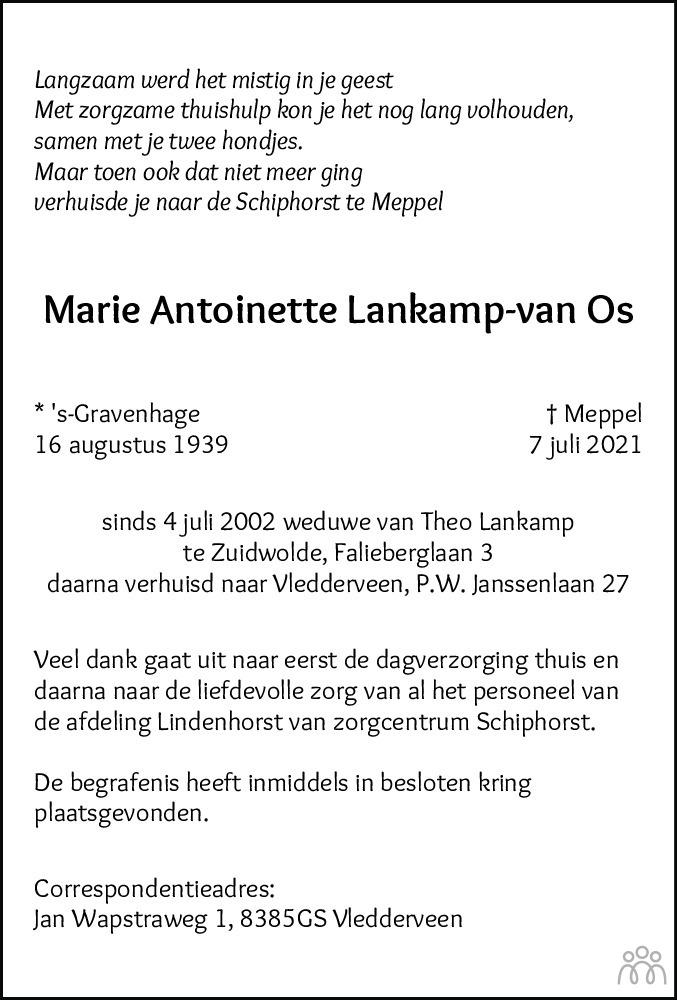 Overlijdensbericht van Marie Antoinette Lankamp-van Os in Meppeler Courant