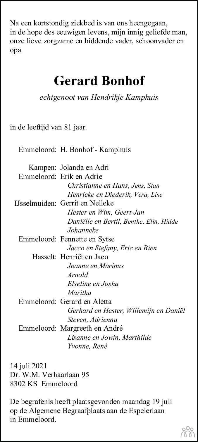 Overlijdensbericht van Gerard Bonhof in Noordoostpolder