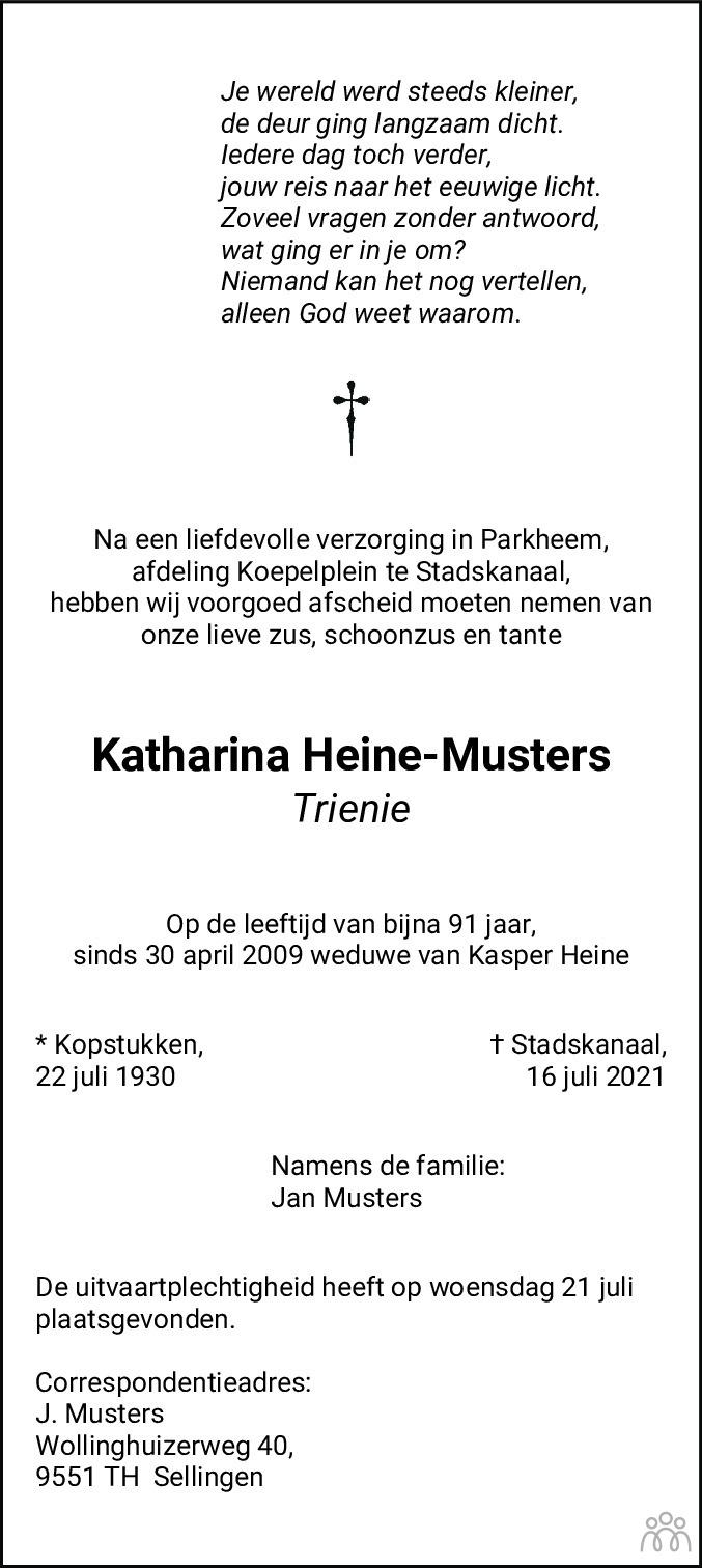 Overlijdensbericht van Katharina (Trienie) Heine-Musters in Kanaalstreek Ter Apeler Courant