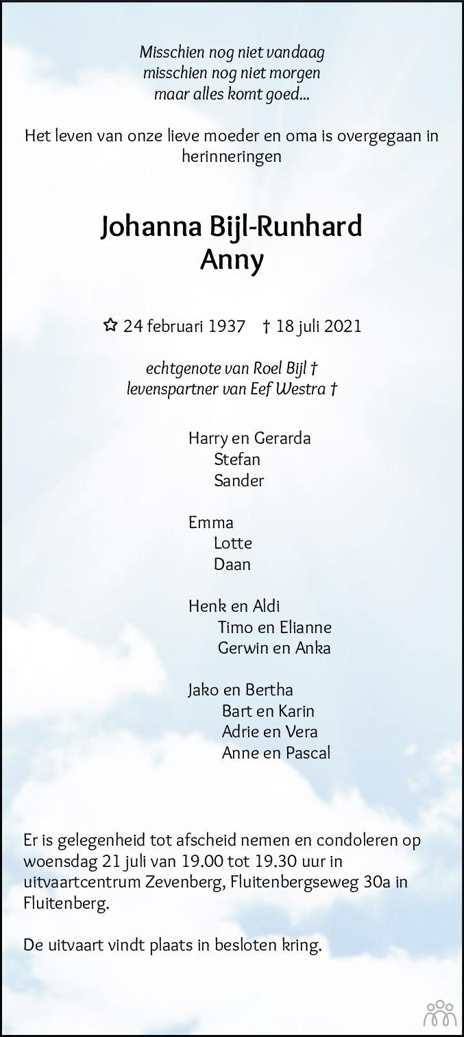 Overlijdensbericht van Anny (Johanna) Bijl-Runhard in Hoogeveensche Courant