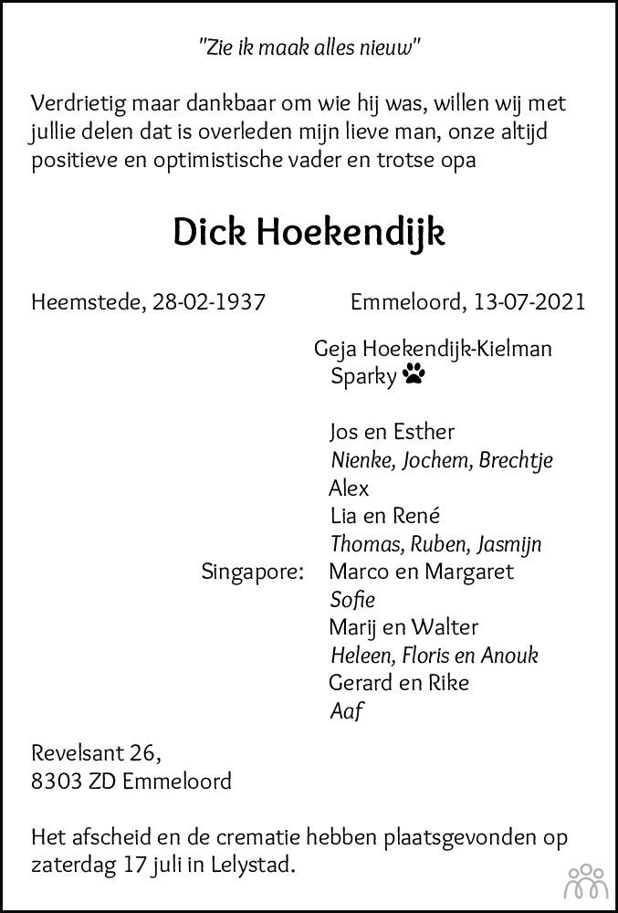 Overlijdensbericht van Dick Hoekendijk in Noordoostpolder