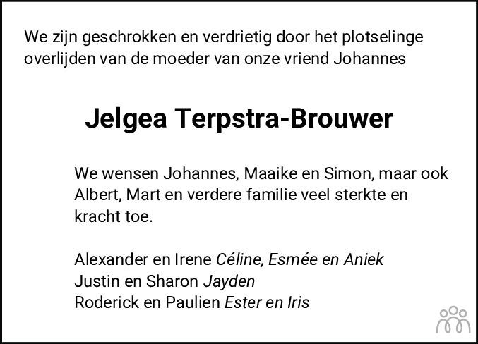 Overlijdensbericht van Jeltina Geertje (Jelgea) Terpstra-Brouwer in Hoogeveensche Courant