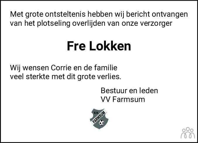 Overlijdensbericht van Frederik (Fré) Lokken in Eemsbode/Noorderkrant