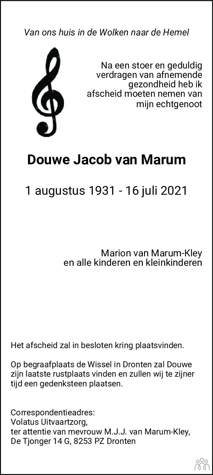 Overlijdensbericht van Douwe Jacob van Marum in Flevopost Dronten