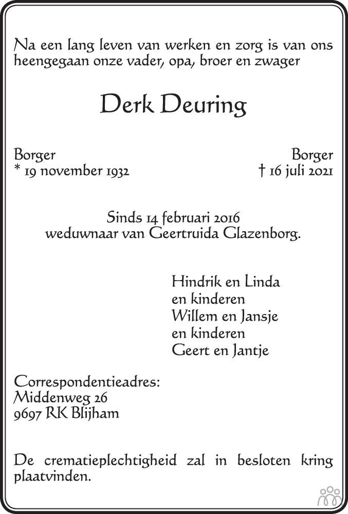 Overlijdensbericht van Derk Deuring in Dagblad van het Noorden