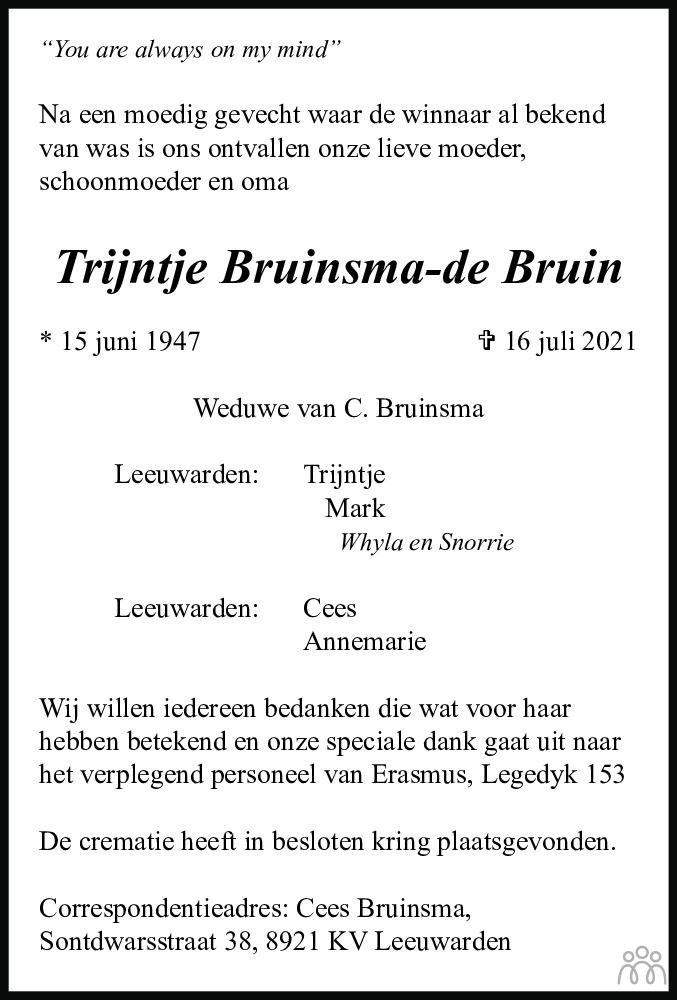 Overlijdensbericht van Trijntje Bruinsma-de Bruin in Leeuwarder Courant