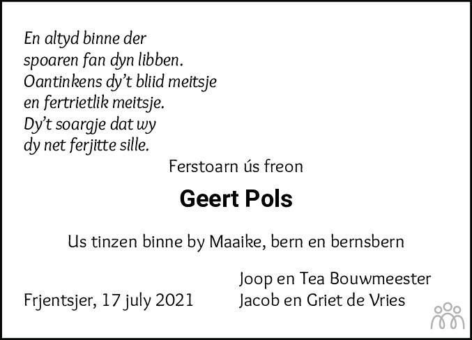 Overlijdensbericht van Geert Pols in Franeker Courant